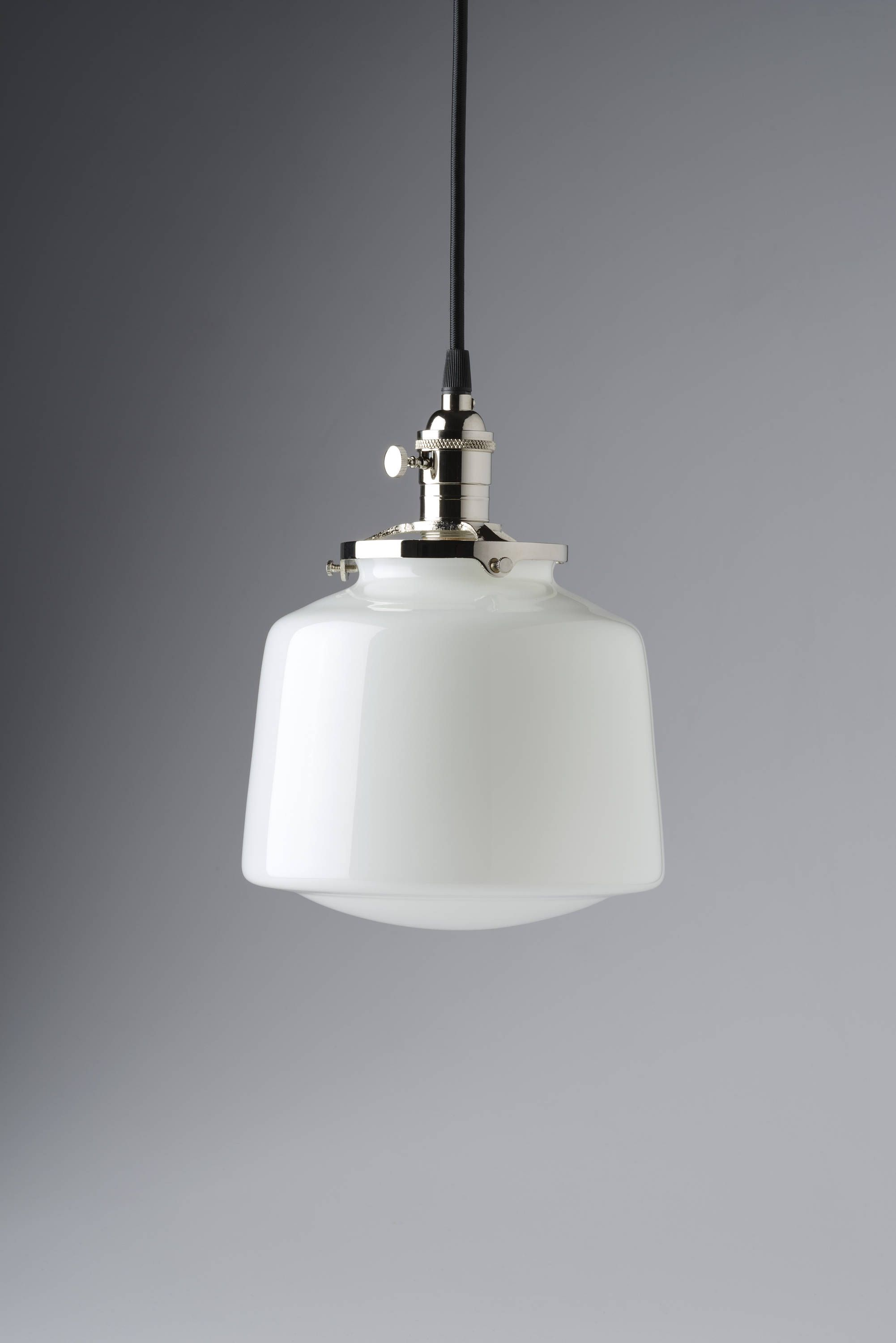 School House Pendant Light White Glass Globe Drum Style Fixture ...