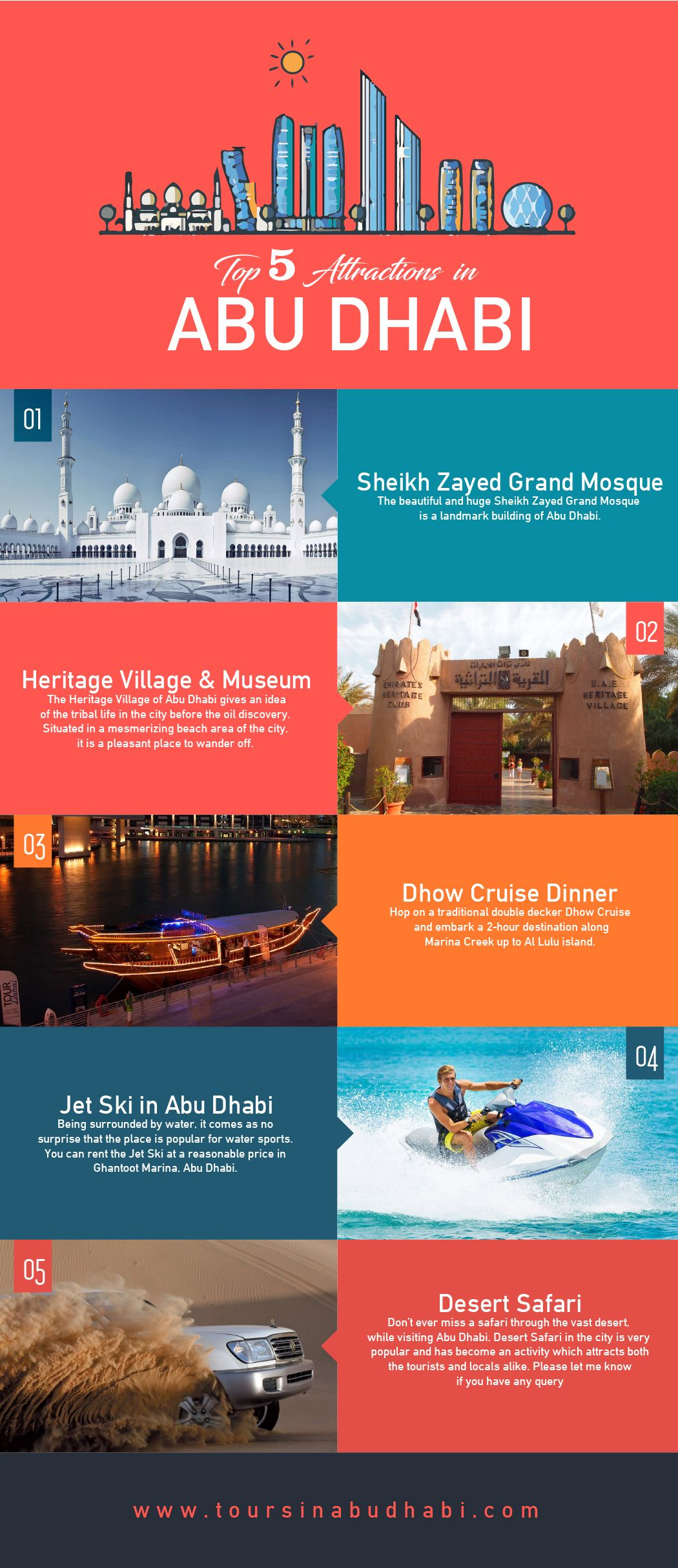 Top 5 Attractions In Abu Dhabi That You Must Explore Infographic