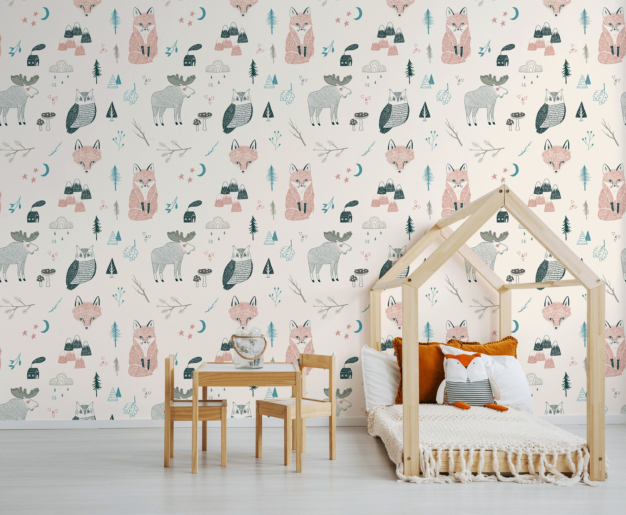 Kids Wallpaper With Forest Animals Peel And Stick Wall Mural Etsy Kids Wallpaper Kids Room Wallpaper Peal And Stick Wallpaper