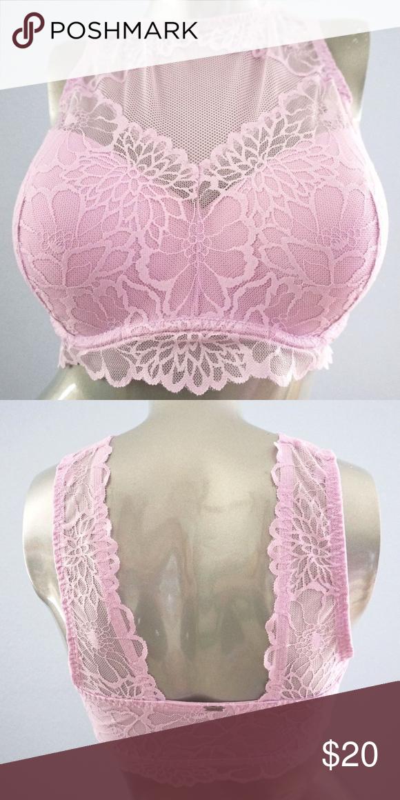 f944e6af4dec PINK Victoria's Secret Misty Lilac Bralette M Bra PINK Victoria's Secret  Misty Lilac Lace High Neck Push Up Bralette Color: Misty Lilac Size: Medium  Brand: ...