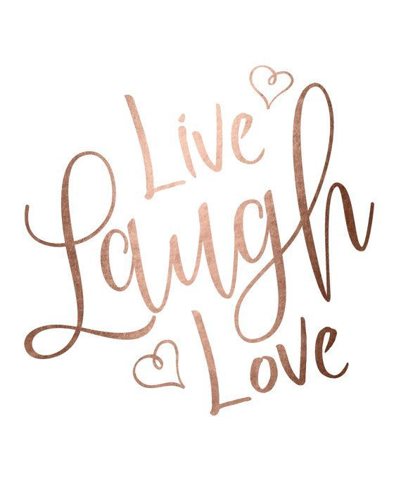 rose gold foil print, printable wall art, live laugh love print