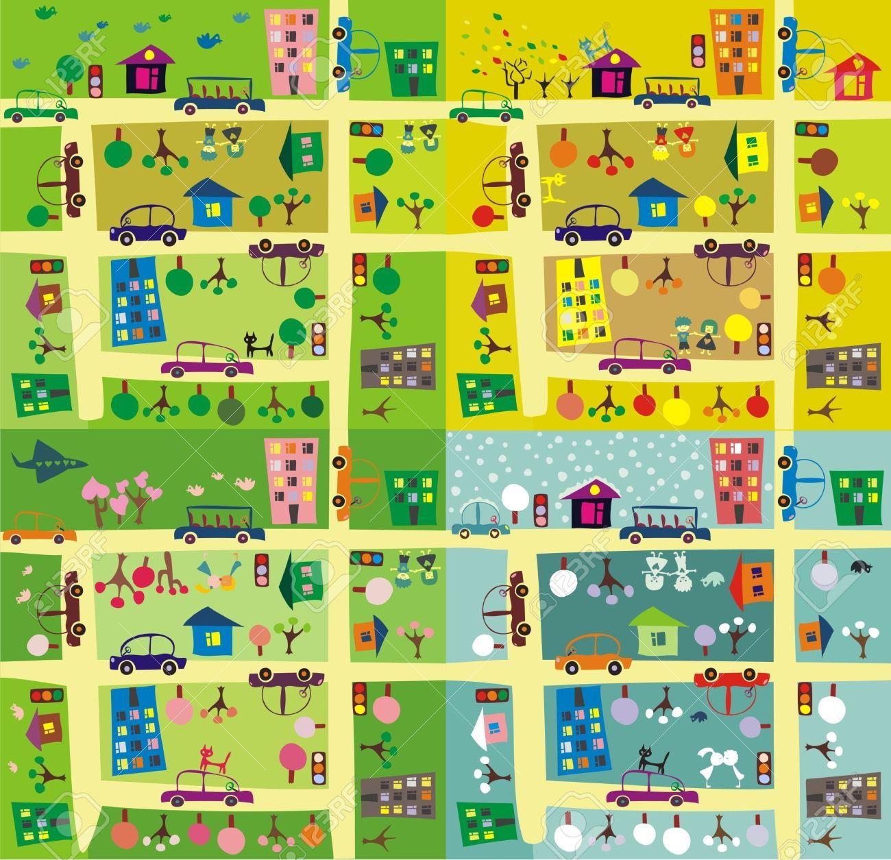 Kids Road Map Clipart