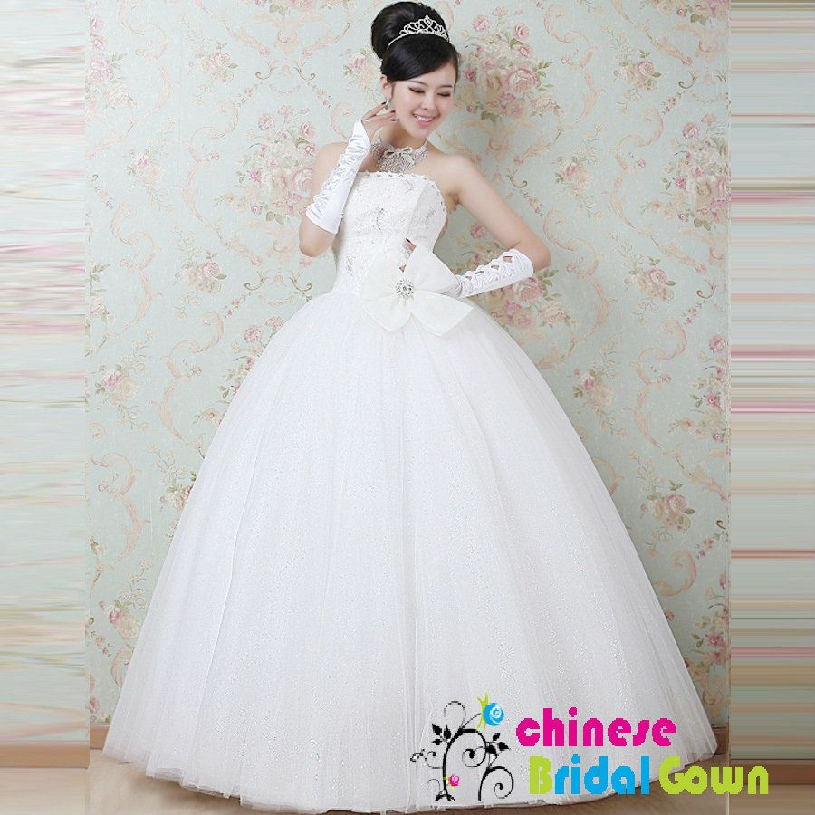 Style 6095, Beautiful Organza Ball Gown Strapless Chinese Wedding ...