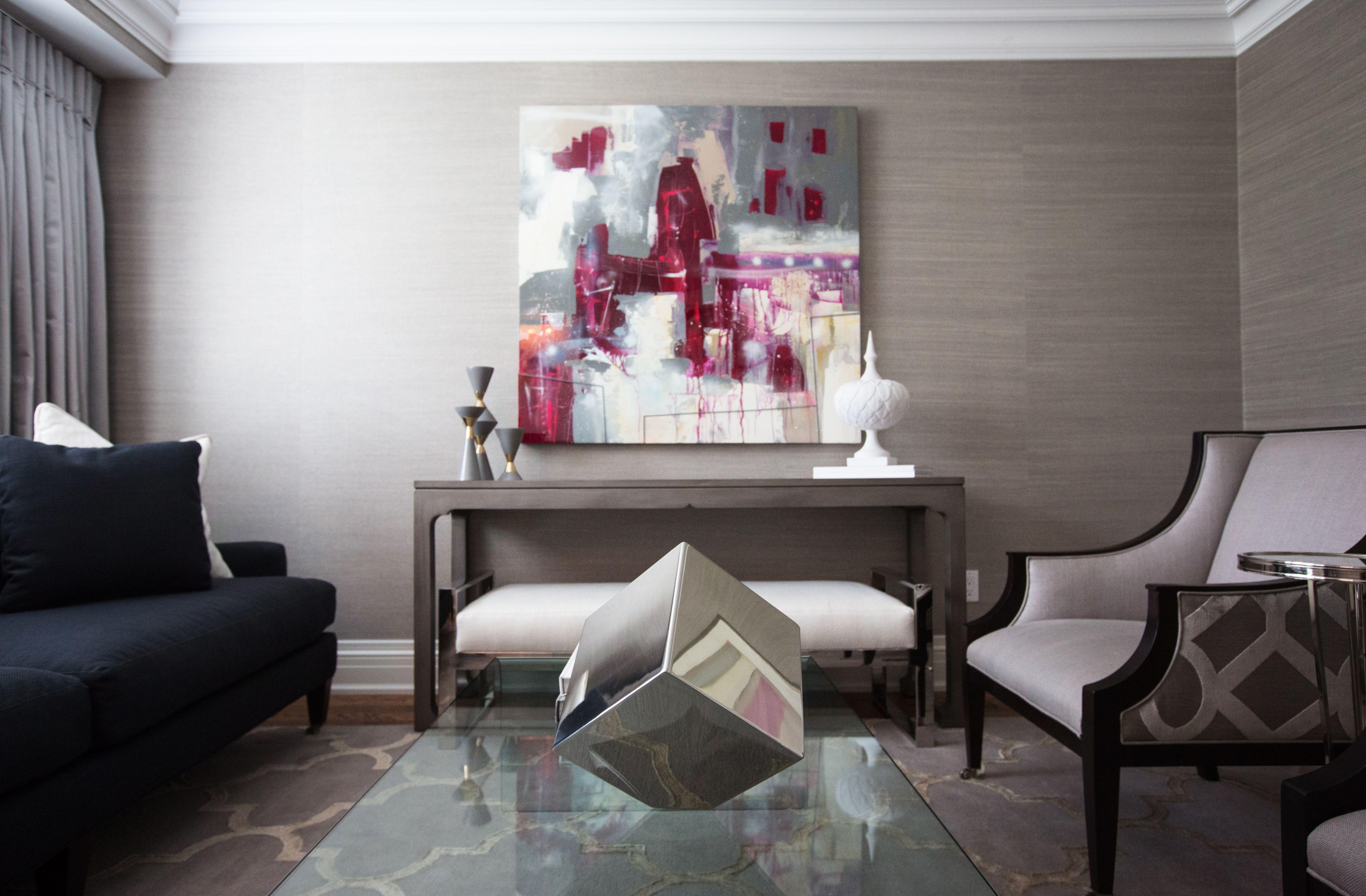 Beautiful navy and grey living room Jennifer Backstein