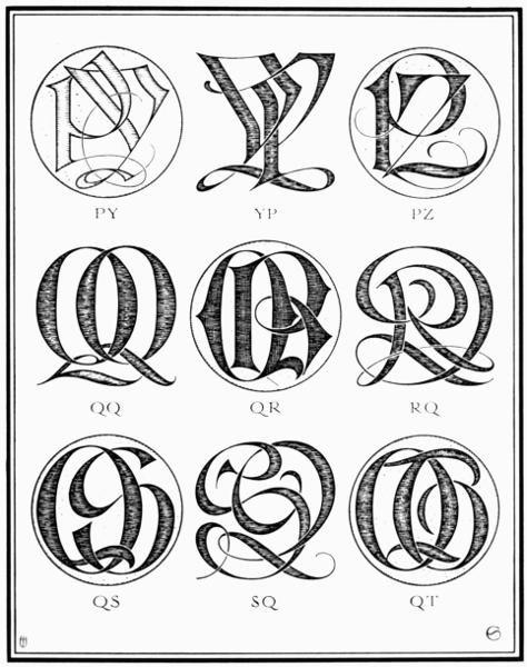 PLATE CII—PY, PZ, QQ, QR, QS, QT | Monograms | Monogram, Monogram
