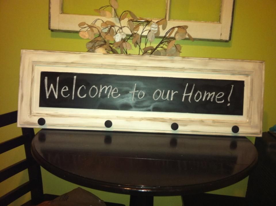 Chalk board coat Rack..Up-Cycled cabinet panel...Chalkboard paint and black knobs.
