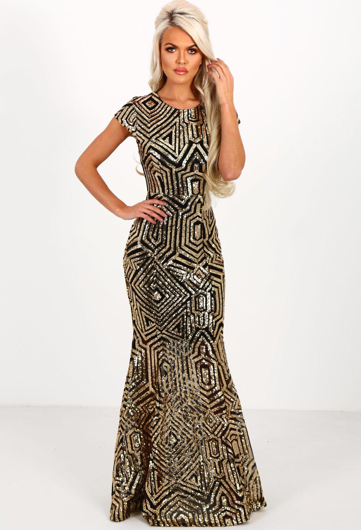 a0ba0ff867a8 Millionaire Gold and Black Sequin Maxi Dress - 8   Purple prom ...