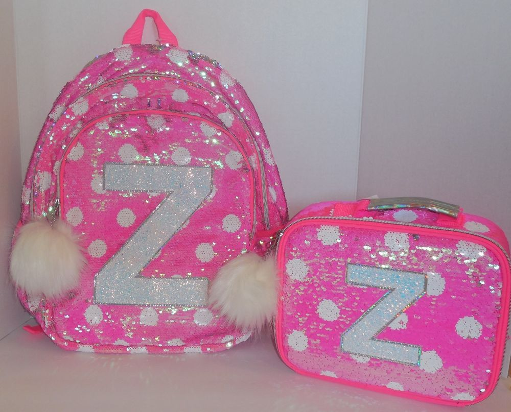 S Justice Flip Sequin Backpack Bookbag Lunch Box Initial Z Pink Dots New