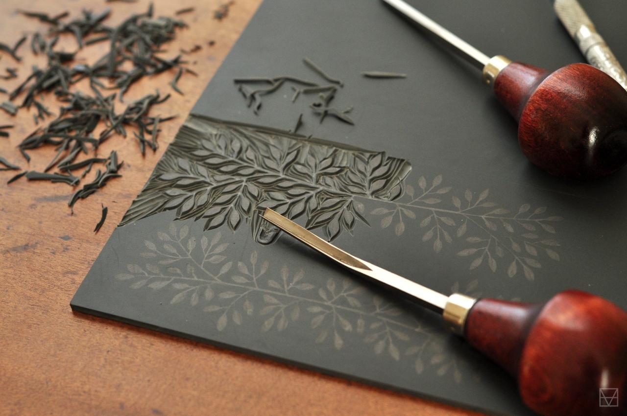 Evemaude Work In Progress Linocut Printmaking Technique Linocut Printmaking Linocut Woodcuts Prints