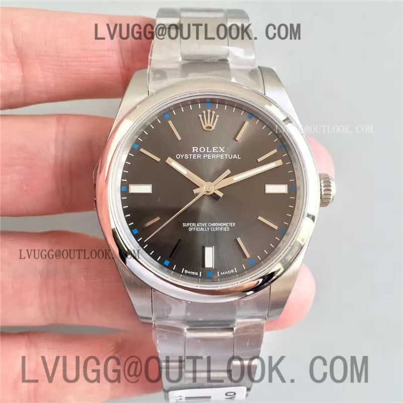 68993aecb71 Replica Rolex Oyster Perpetual 39 114300 1 1 Best Edition Gray Dial on SS  Bracelet A2824