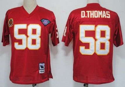 Kansas City Chiefs #58 Derrick Thomas Red 75TH Throwback Jersey