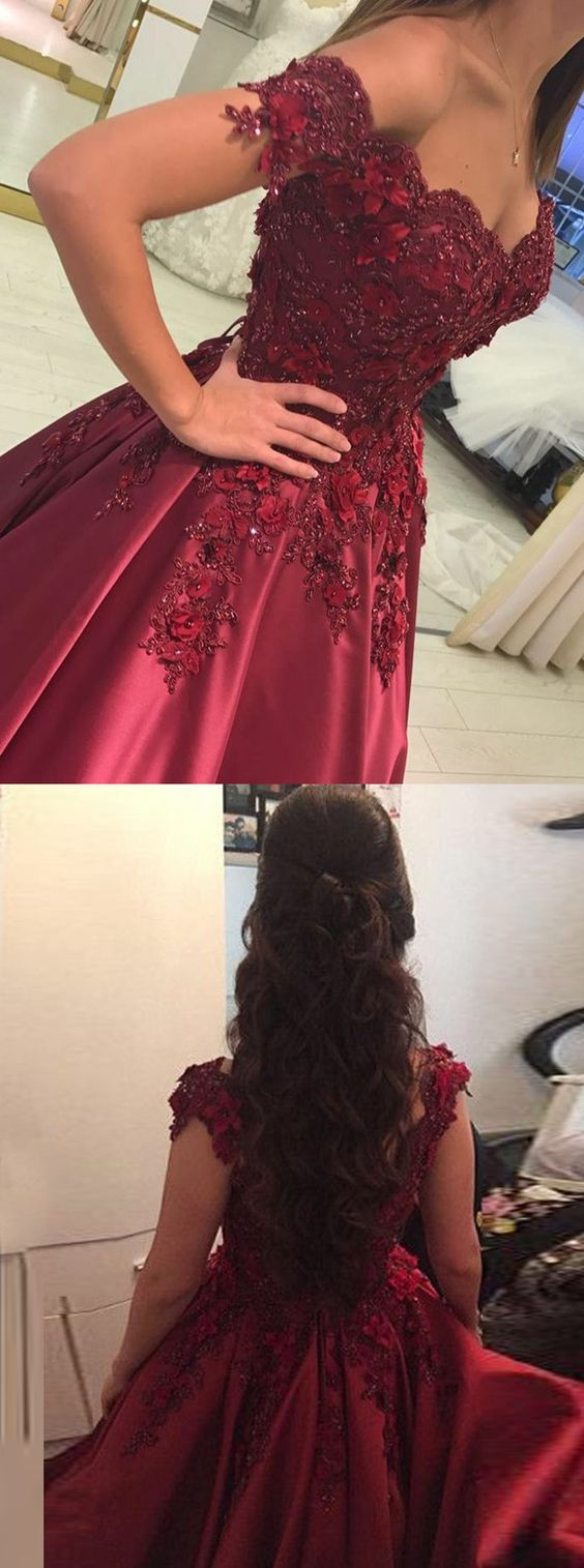 Ball gown offtheshoulder dark red prom dress with appliques