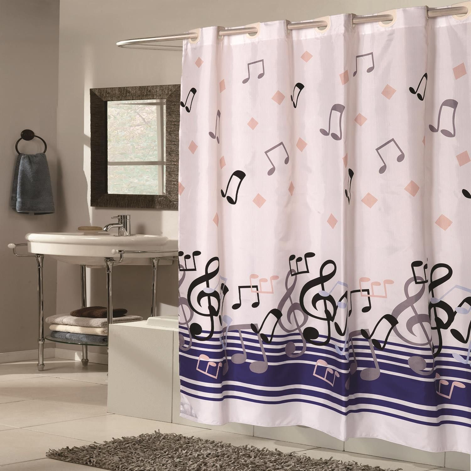 Carnation Home Extra Wide Ez On Blue Note Polyester Shower