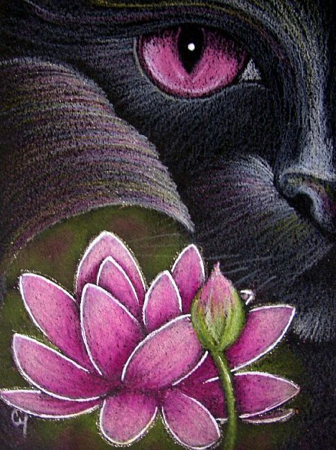 Cyra R. Cancel - BLACK MERMAID CAT BEHIND THE LOTUS FLOWER - Pencil