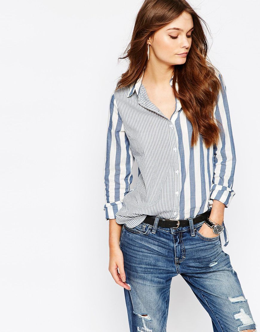 96b3395124caf6 New Look Mix and Match Stripe Shirt | fashion | Outfits with striped ...