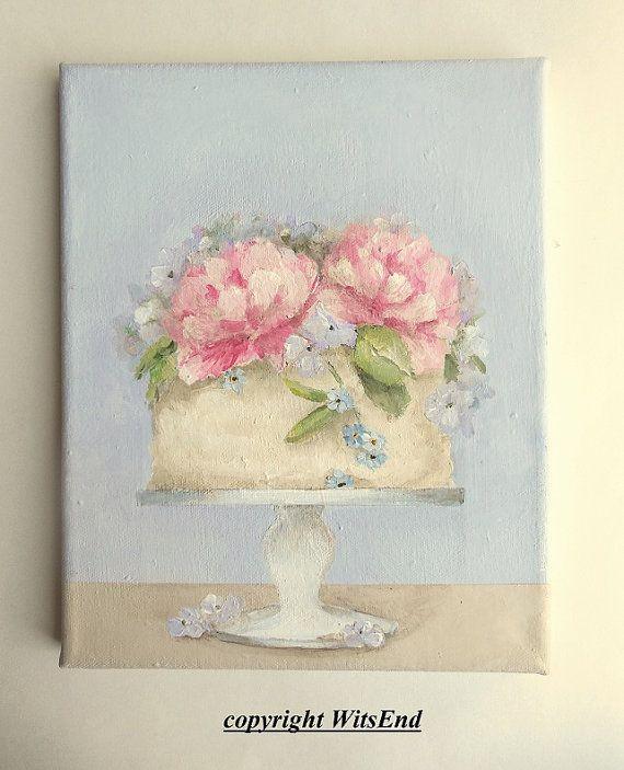 Peony Cake painting original ooak art still life by 4WitsEnd, via Etsy