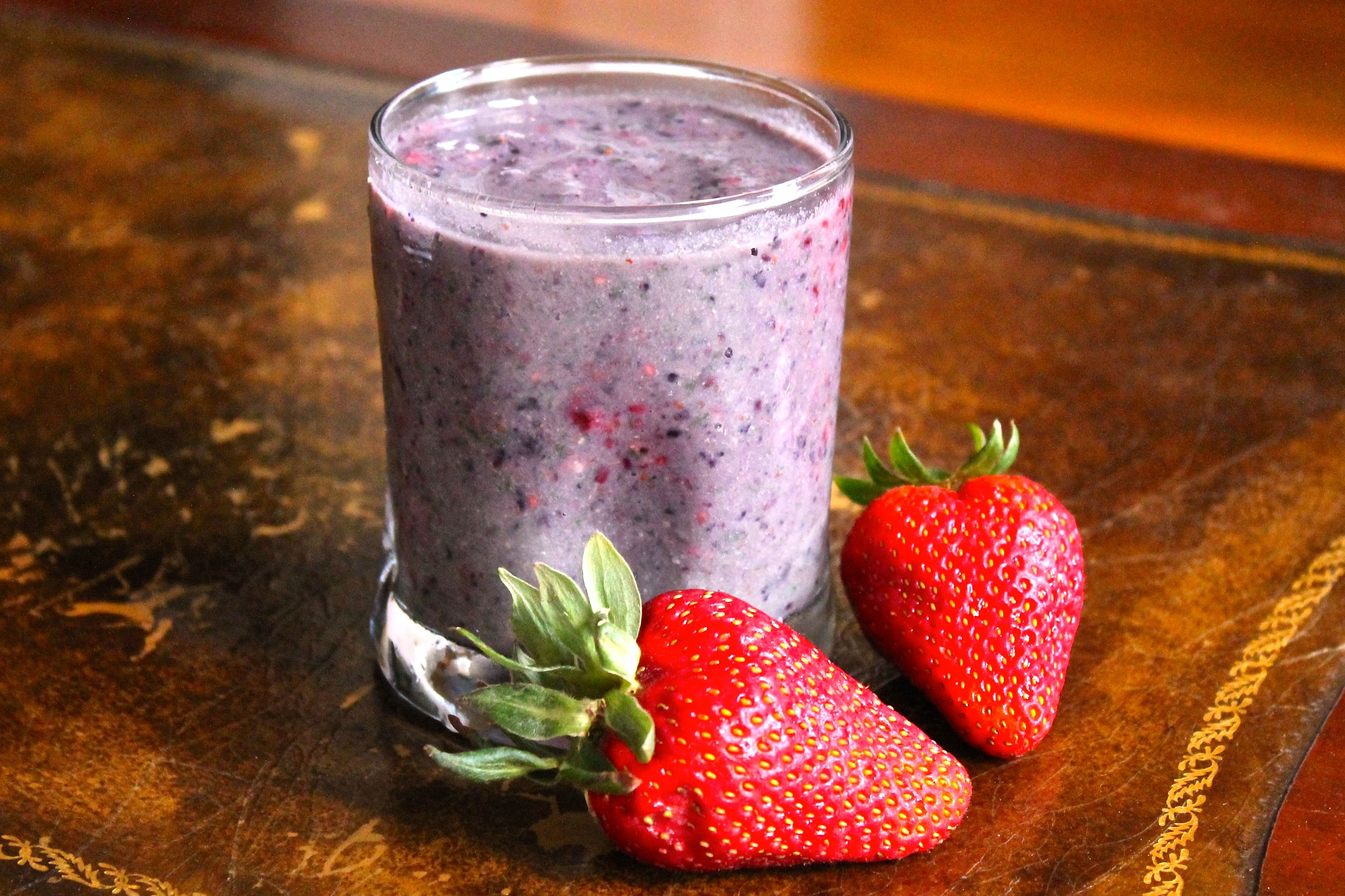 Banana, Blue Berry, Strawberry, Kale, Almond Milk, Ground Chia/Flax or other (Want to try Sesame and/or Amaranth)