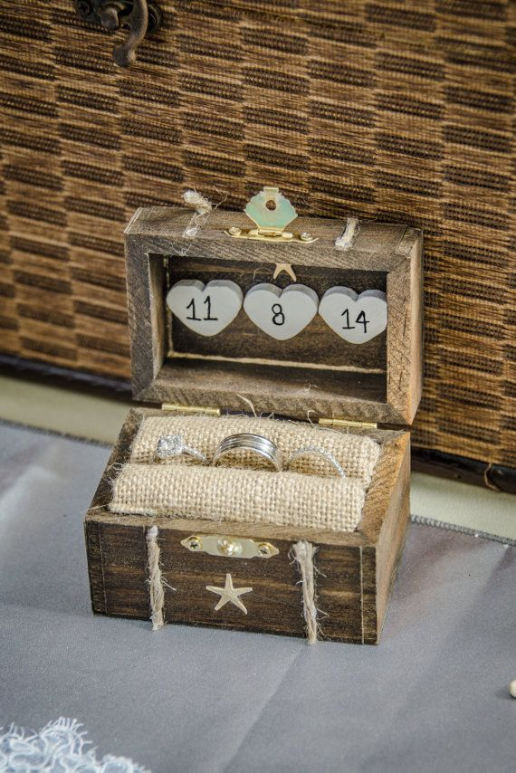 Rustic Wedding Ring Box, Engagement Ring Box, Beach