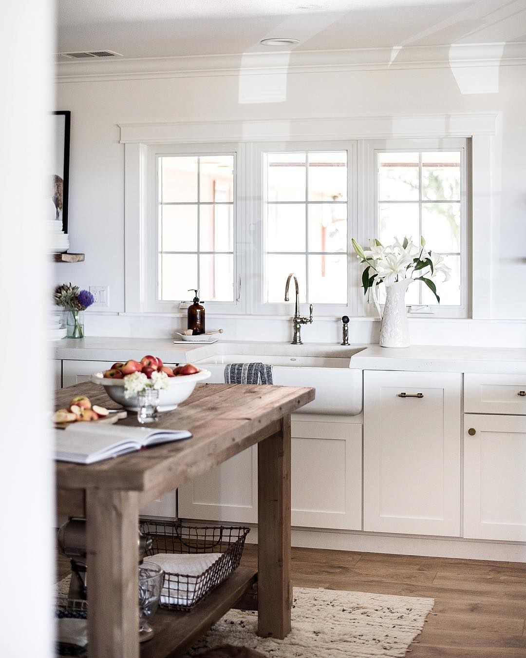 white kitchen looks great but that island just pops | Home sweet ...