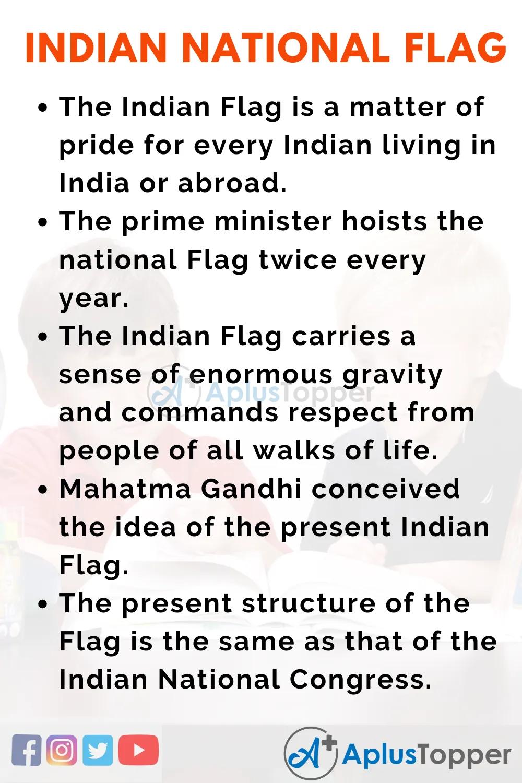 Essayonindiannationalflag Indiannationalflagessay Aplustopper National Flag Essay Short India