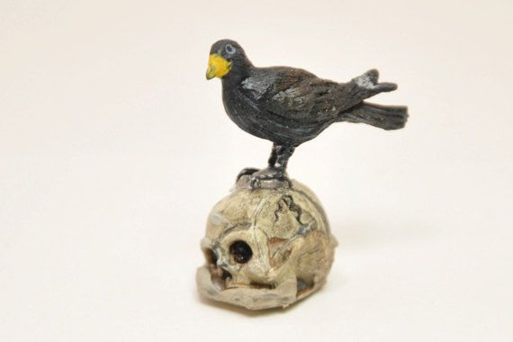 Black Crow resting on Skull 1inch scale by ParticularlyUnusual, $10.00