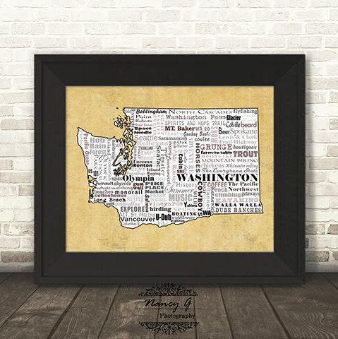 Washington State Slogans, Word Art, Typography, Map, Washington ...