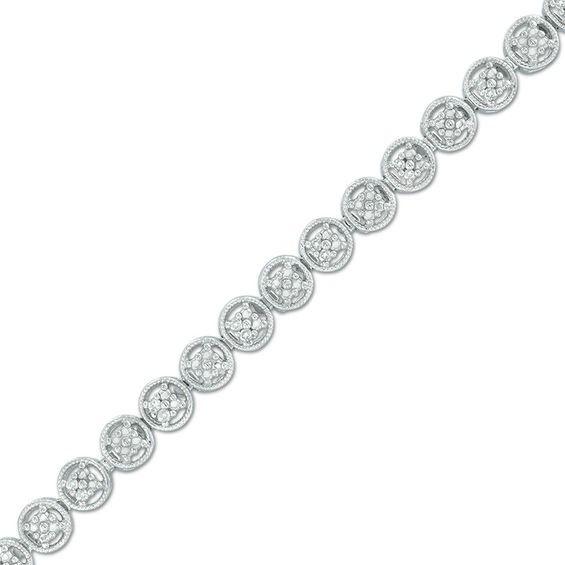 Zales Oval Tanzanite and Diamond Accent Beaded Frame Vintage-Style Bracelet in Sterling Silver - 7.5 Saz3me5J