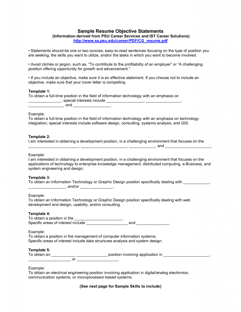 Resume Examples Resume Objective Example Objective Examples For