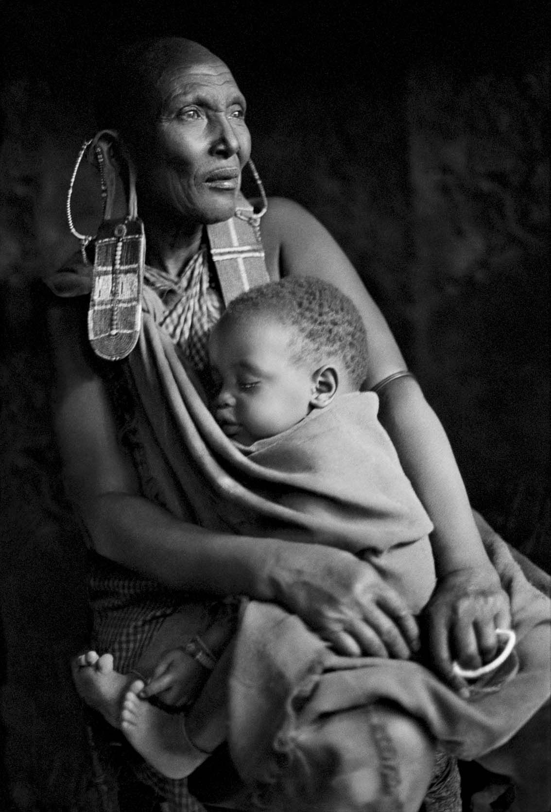 Africa masai grandmother with grandchild caroline halley