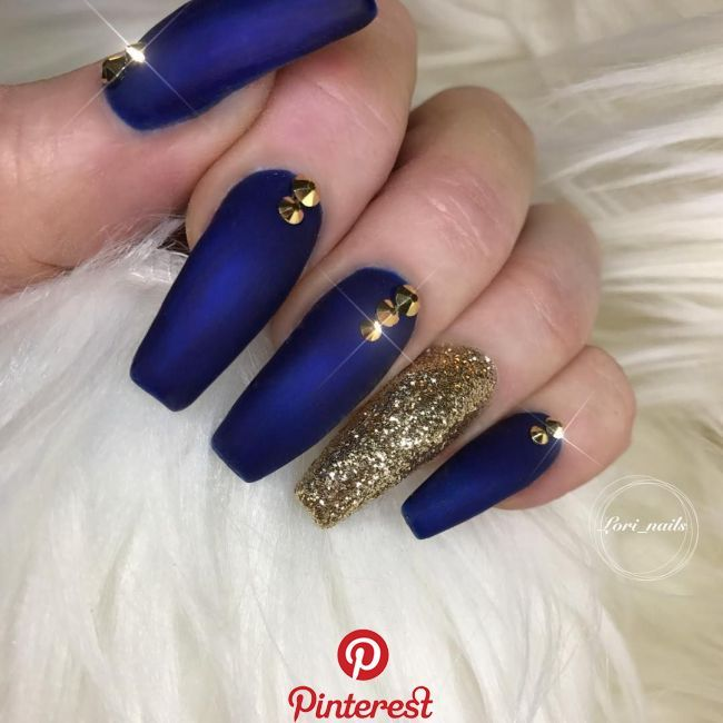 Lori Anastos On Instagram Bluenails Navynails Goldnails Mattenails Longnails Ballarinanails Denver Nailsalon Nailstagram Nailslife Coffi Blue Glitter Nails Gold Acrylic Nails Blue Acrylic Nails