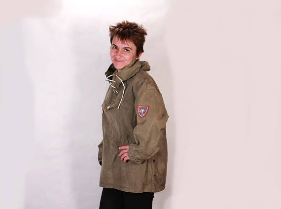 Canvas anorak - Vintage anorak - Khaki canvas anorak - Military ...