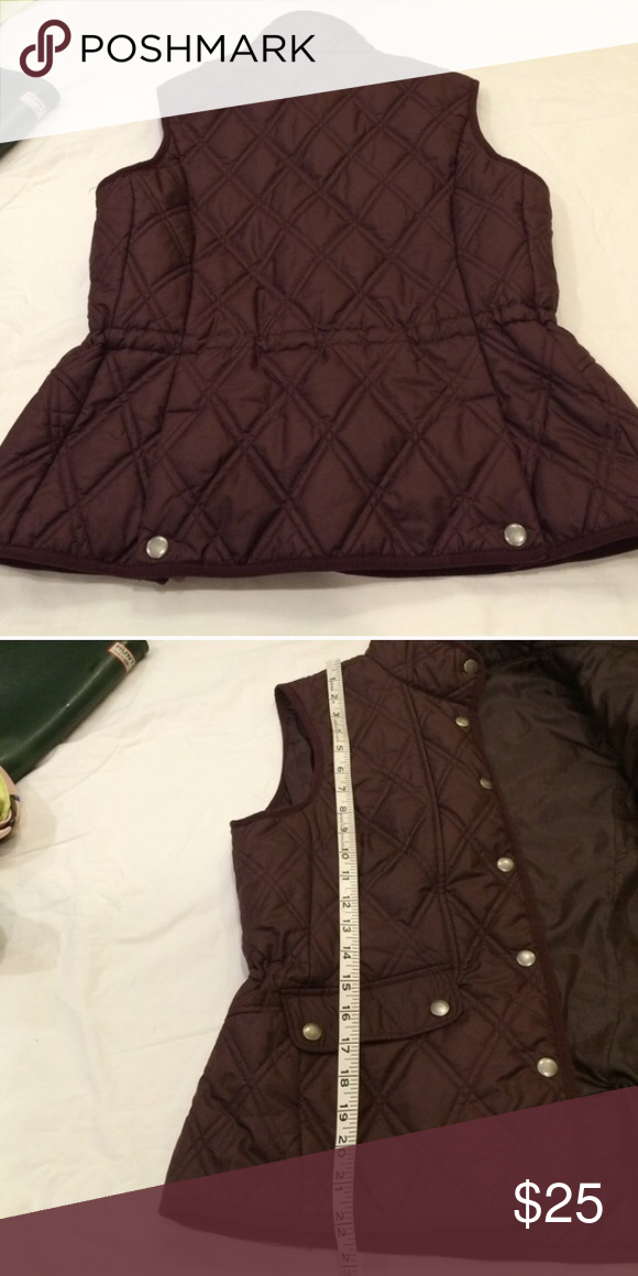 Eddie Bauer Quilted Vest Purple quilted vest from Eddie Bauer. Snap buttons and stretchy waist. Perfect for cooler temperatures. No flaws, perfect condition. Eddie Bauer Jackets & Coats Vests