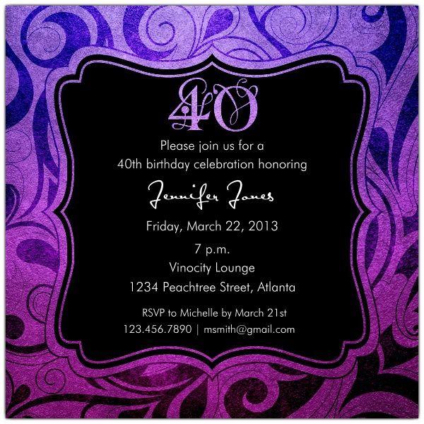 Brilliant Emblem 40th Birthday Party Invitations