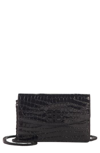 Balenciaga Bb Croc Embossed Leather Wallet On A Chain Leather Wallet Embossed Leather Wallet On A Chain