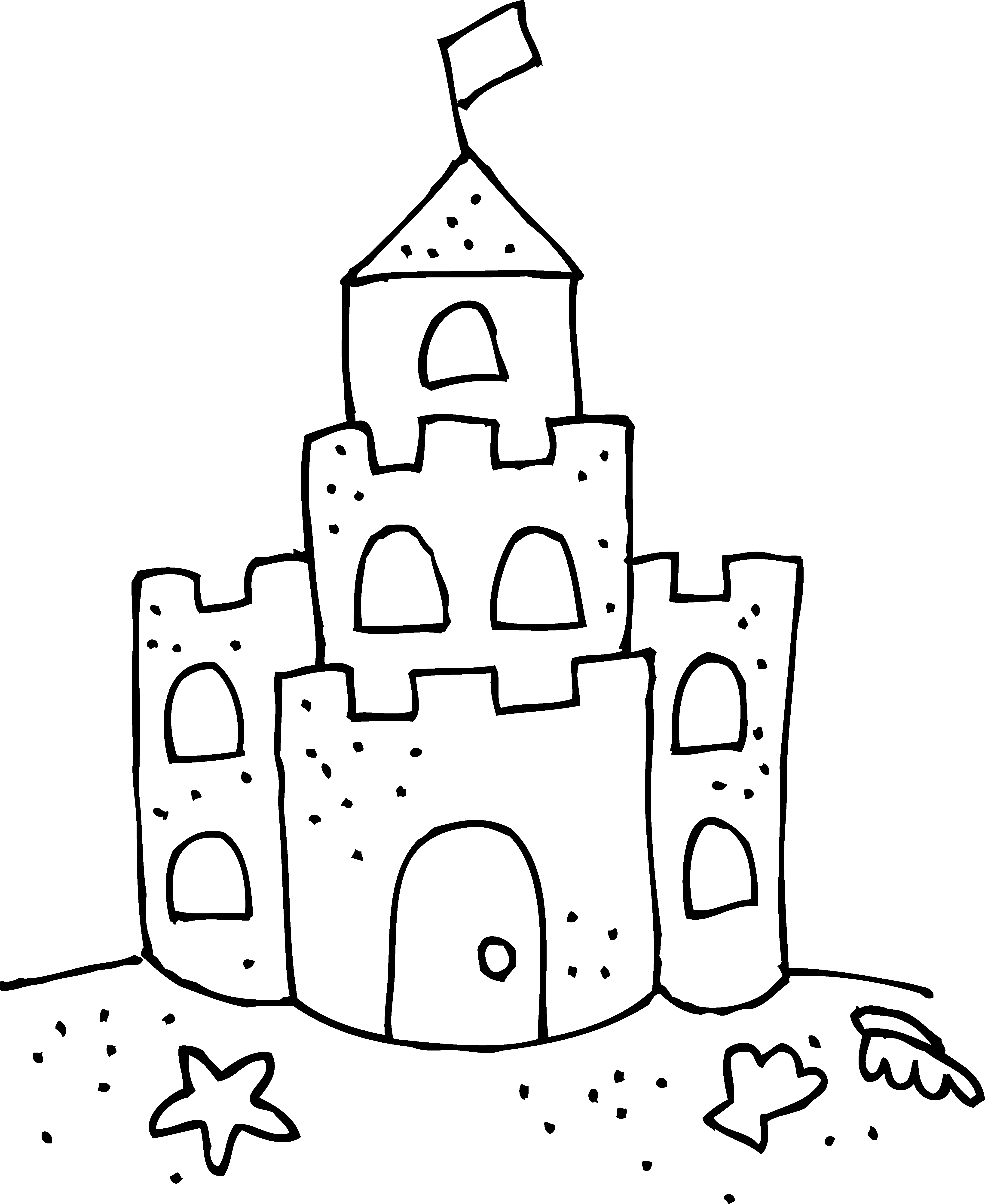Sand Castle Clip Art Black And White Cute Sand Castle Coloring Page