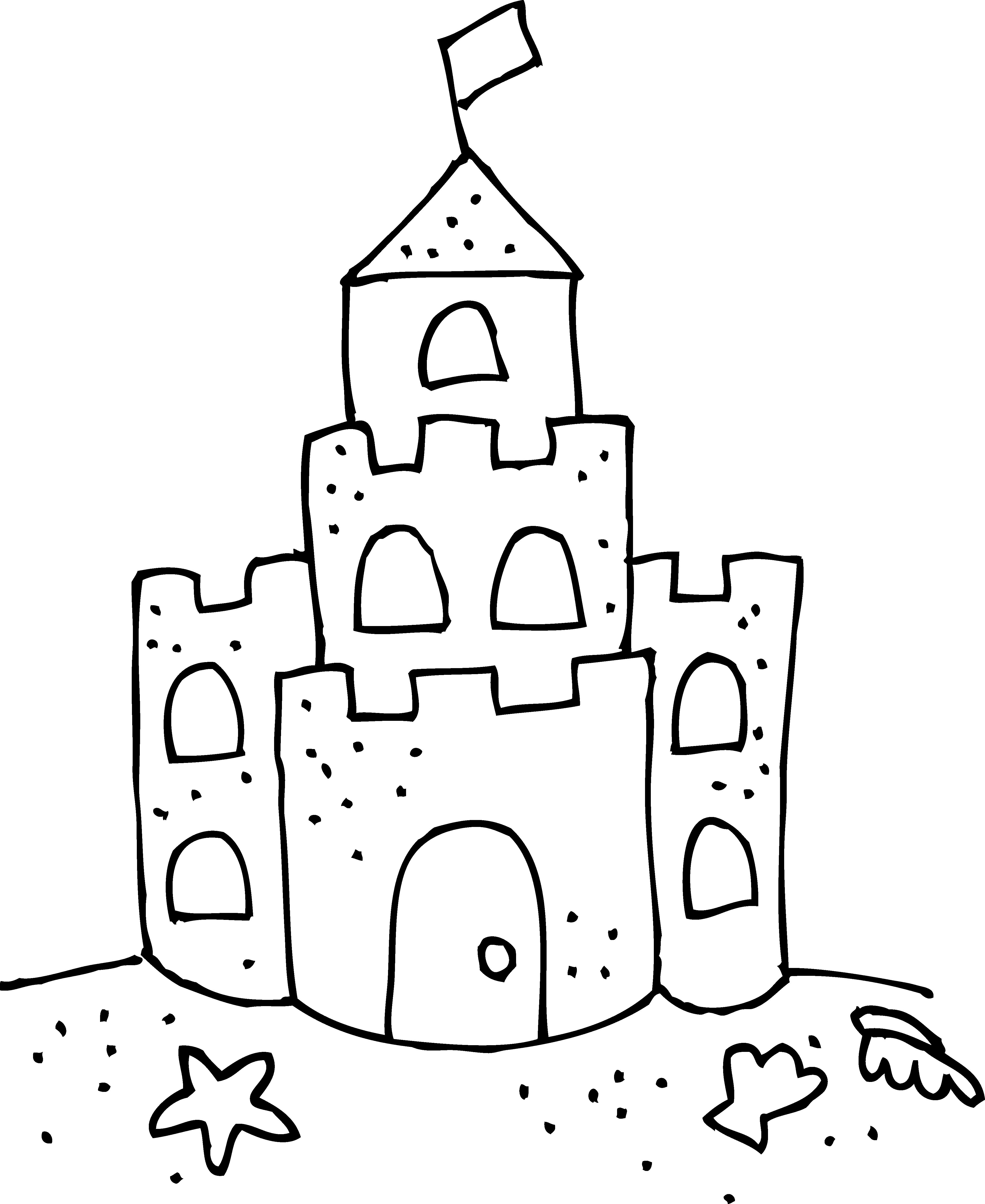 Castle Coloring Pages: Sand Castle Clip Art Black And White Cute Sand Castle