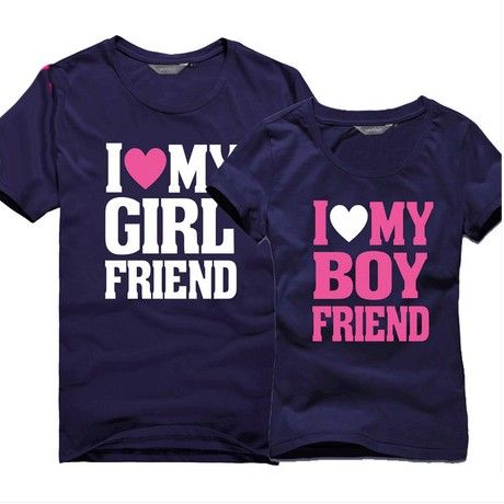 652ebe5156 Boyfriend and Girlfriend Matching Love T Shirts for Couples Set of 2 ...