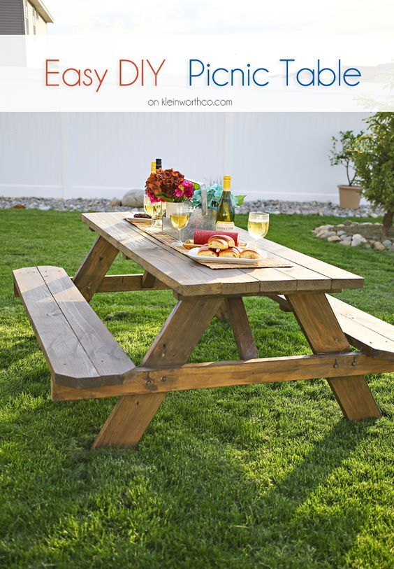 Easy DIY Picnic Table DIY Projects Do It Yourself Pinterest - Ready to assemble picnic table