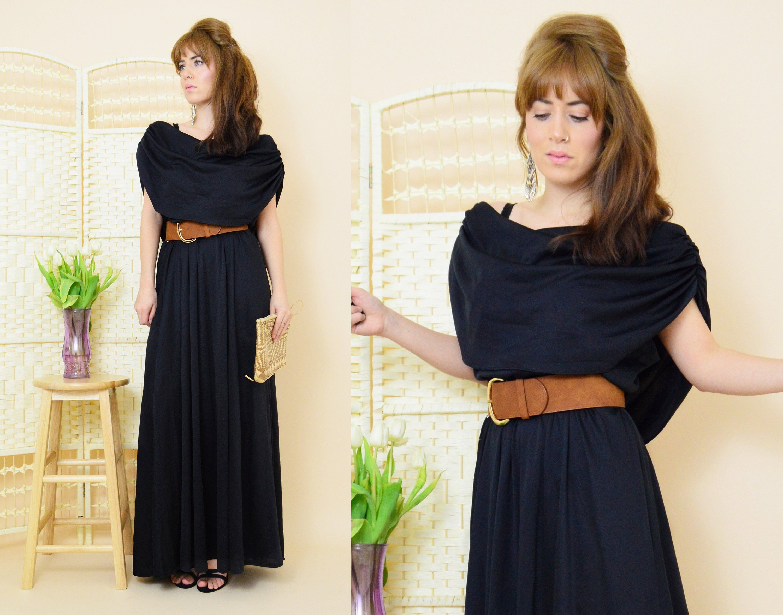 Black grecian evening maxi dress vintage 90s evening