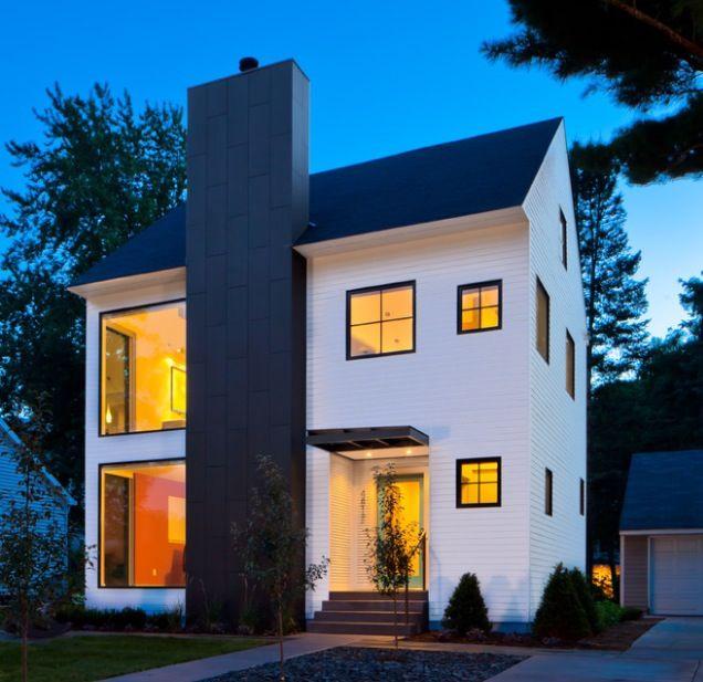 Modern House, 2 story, black on white