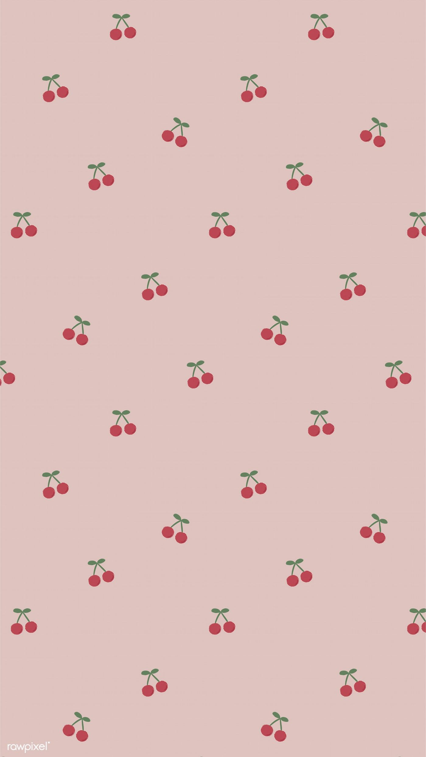 Download Premium Illustration Of Red Hand Drawn Cherry Pattern On Pink Soft Wallpaper Wallpaper Iphone Cute Pastel Wallpaper