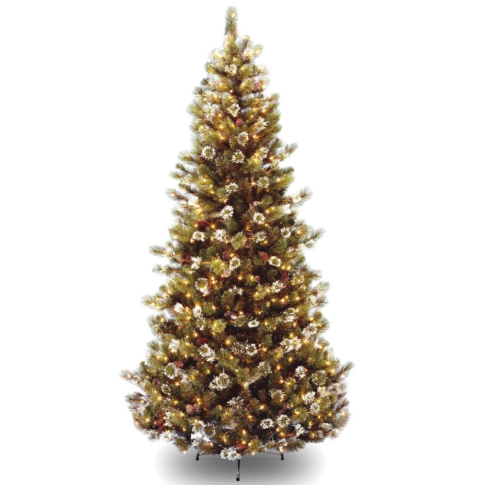 7.5foot Glittery Pine Hinged Tree with 500 Clear Lights