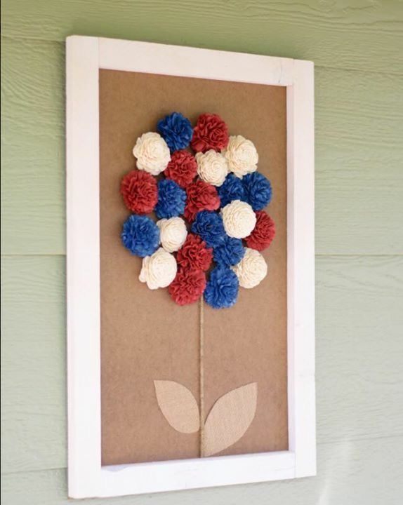 Sola Wood Flowers Bali Patriotic Flower Red White And Blue Wall