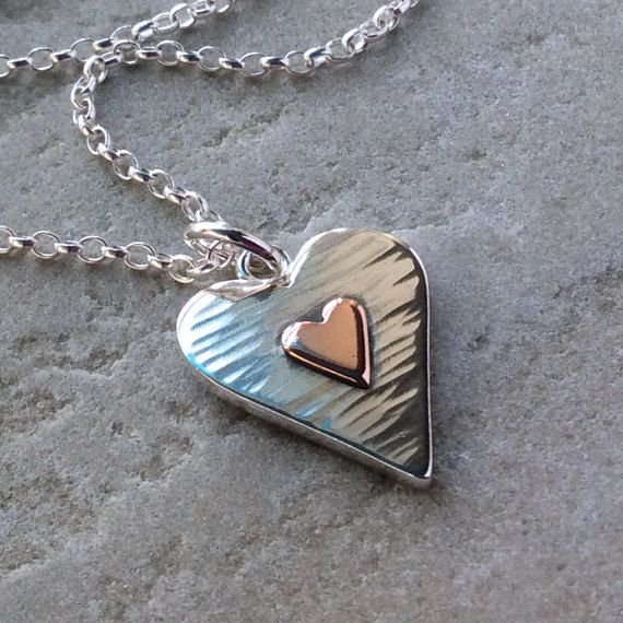 Heart necklace silver heart heart jewellery wife gifts