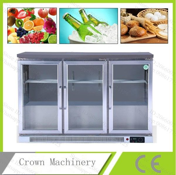 Commercial 3 Glass Push And Pull Door Air Cooling Fruitdrinkbread