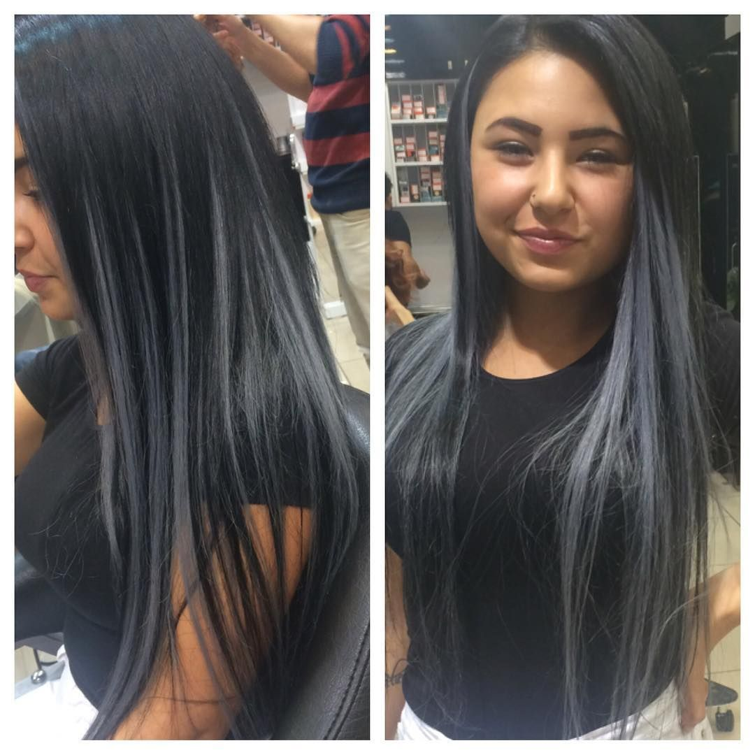 Jet Black Gray Highlights Fierce Saloon Riva Hair Color For Black Hair Black Hair With Grey Highlights Hair Highlights