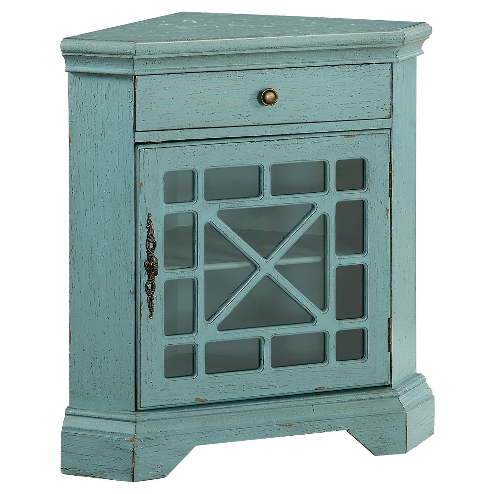 One Drawer One Door Corner Cabinet - Blue - Christopher Knight Home ...