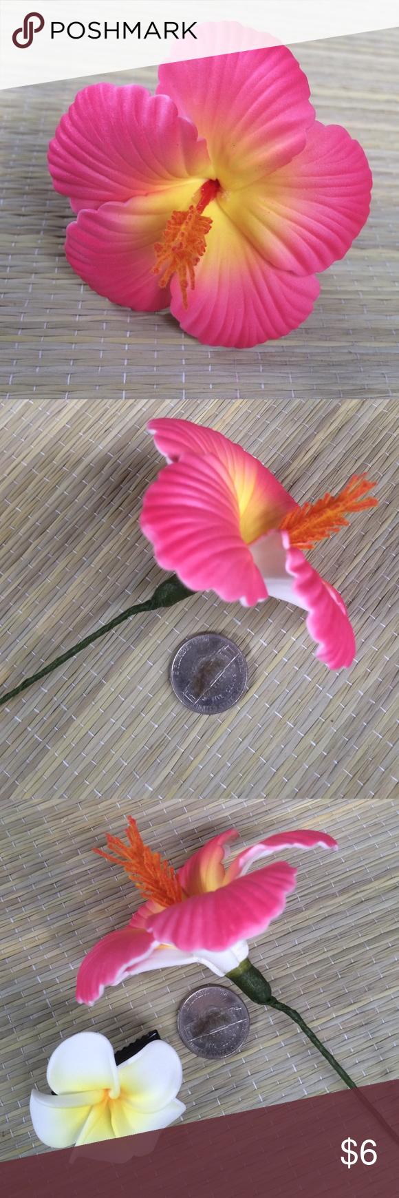 Faux pink hibiscus flower hair pic small clip my posh picks faux pink hibiscus flower hair pic small clip faux pink hibiscus flower hair pic small white plumeria hair clip delicate lightweight handmade in hawaii izmirmasajfo