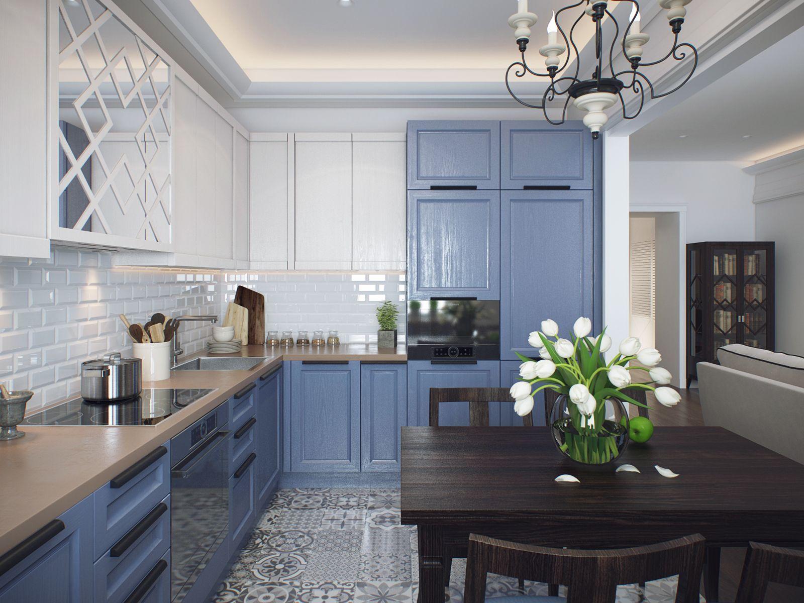 3d Visualization Interior Design Modern Classic On Behance Modern Kitchen Design New Kitchen Interior Modern Kitchen