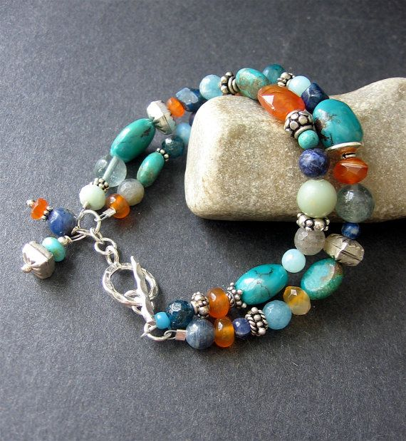 MultiStone Beaded Bracelet - Turquoise, Carnelian, Labradorite, Lapiz, Sterling Silver - Fulton